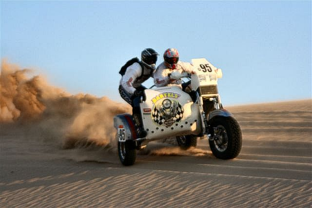 Scott Whitney / Duane McDowell - Dakar Rally sidecar competitors on a Harley-Davidson V-Rod